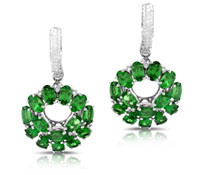Crawley Earrings Diamond Tsavorite Earrings - Fine Earrings | Price - $5,500.00