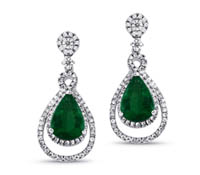 Hilton Diamond and Emerald Earrings - Occasion Jewelry | Price - $5,200.00