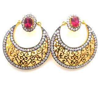 Round Filigree with ruby stone edged with oxidized Cubic Zirconia stones  sc 1 st  the adorn shop & Diya Earrings Wedding / Special Occasion Costume Jewelry and ...