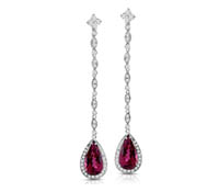 Sarah Earrings Diamond & Pink Rubilite Drop Earrings - Fine Diamond Earrings | Price - $3,999.00